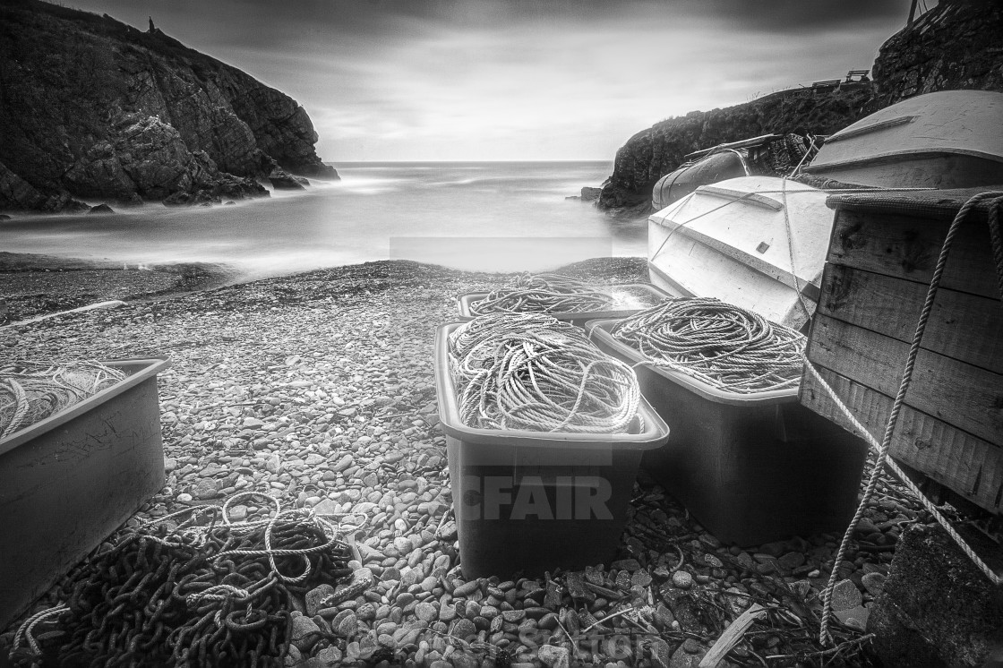 """""""Cadgwith Cove In Monochrome"""" stock image"""