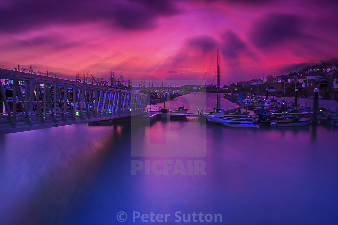 """""""A Red Dawn At Newlyn"""" stock image"""