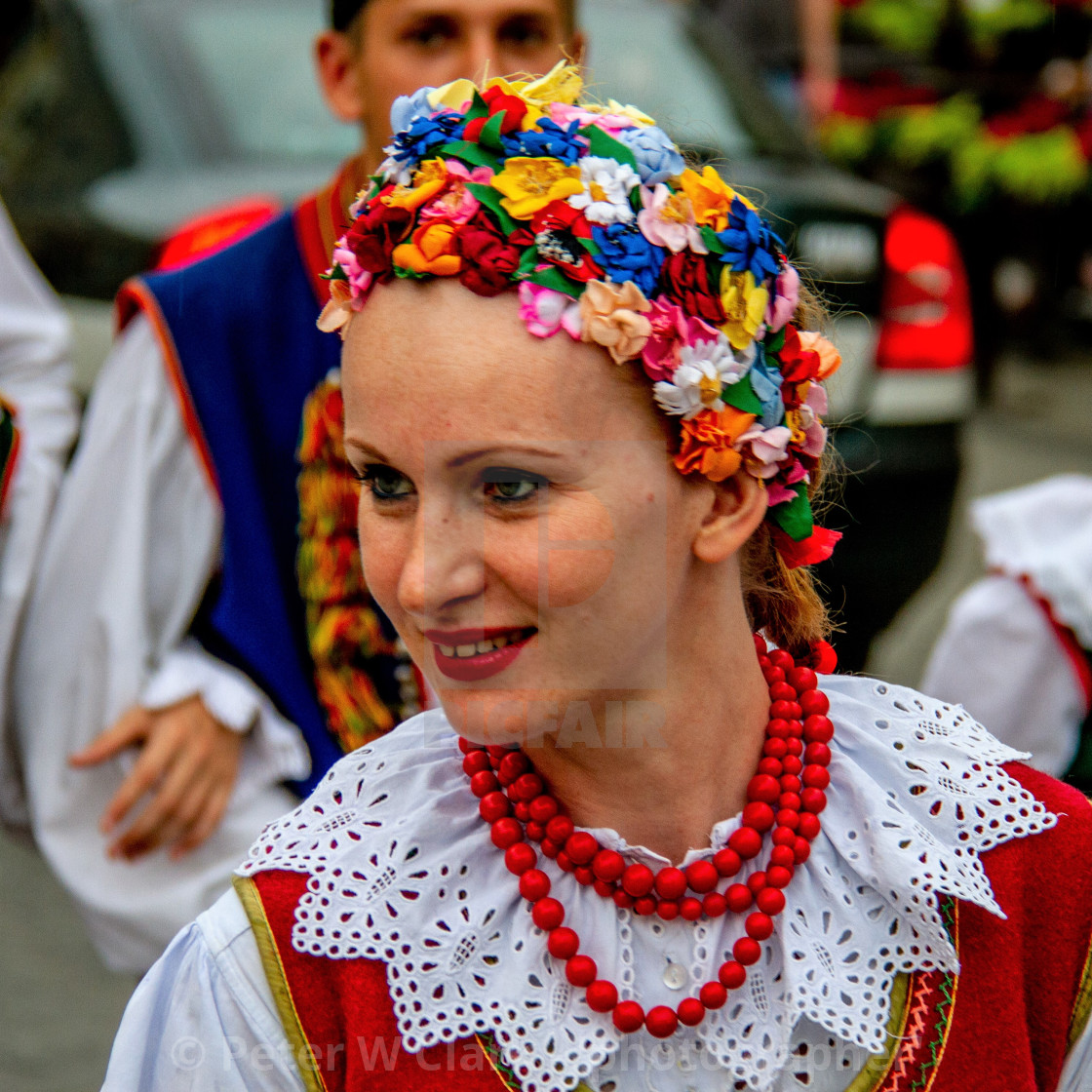 """Girl in Traditional Dress at the International Festival of Children and Youth Folk Groups. Krakow"" stock image"