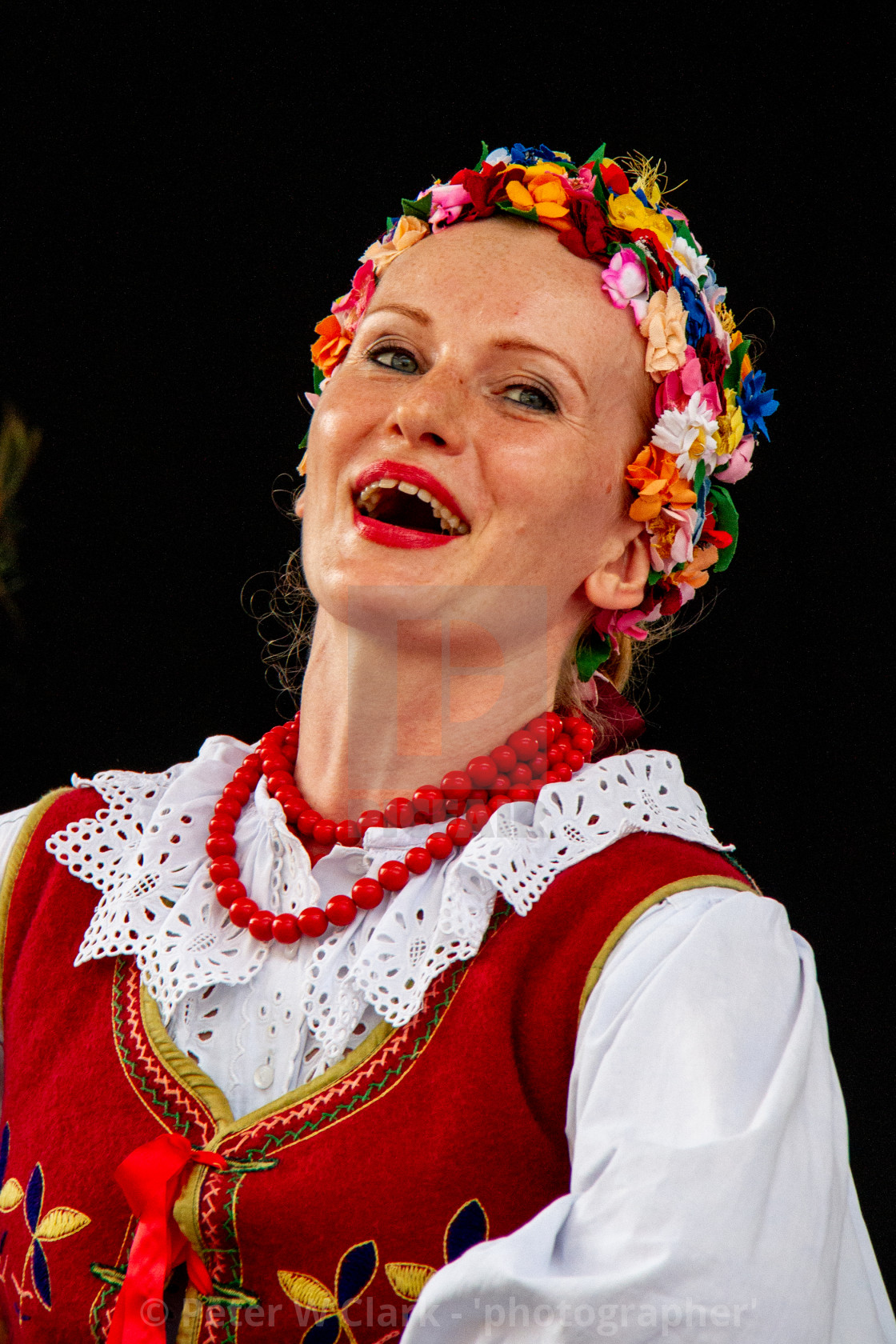 """Girl Singing at the International Festival of Children and Youth Folk Groups. Krakow"" stock image"
