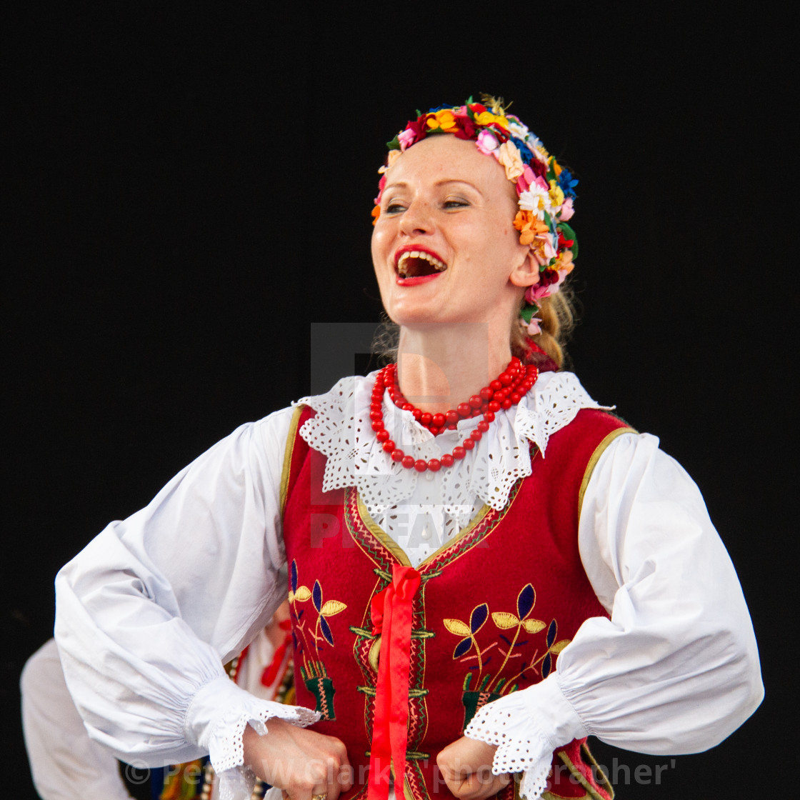 """Girl Singing at the International Festival of Children and Youth Folk Groups. Krakow International Festival of Children and Youth Folk Groups. Krakow"" stock image"