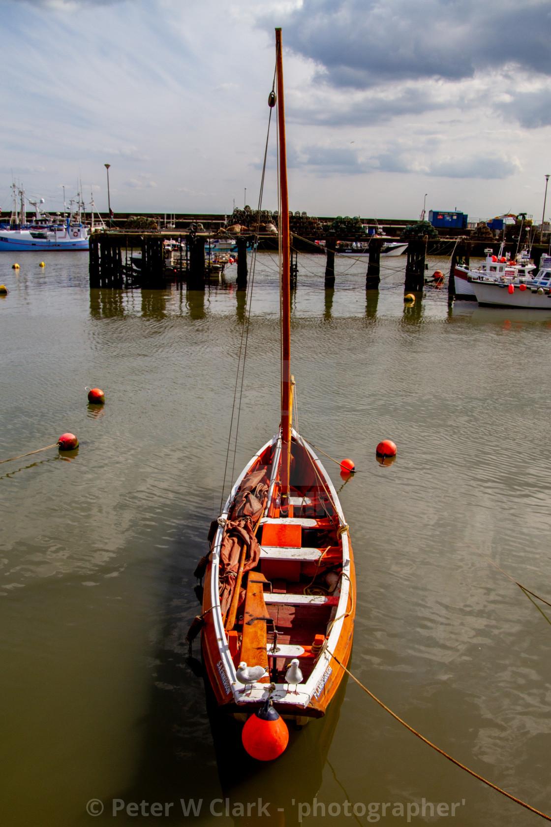 """Sailing Cobble in Bridlington Harbour"" stock image"