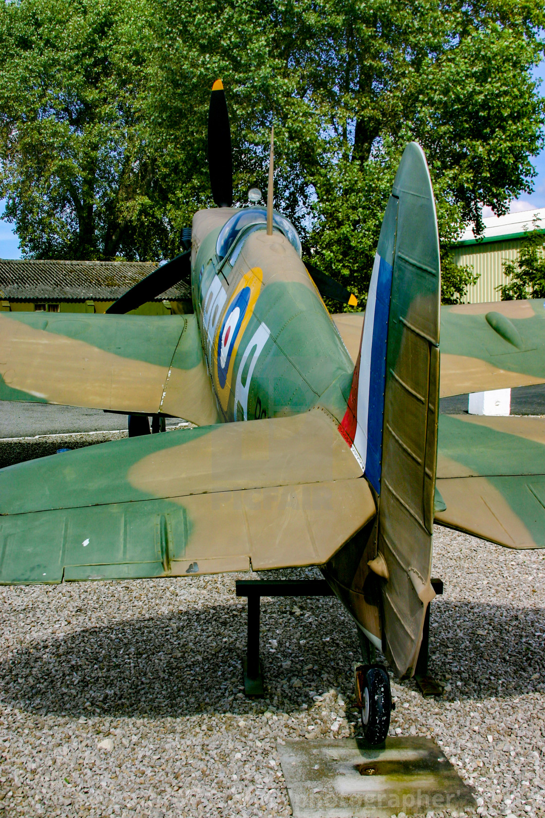 """""""Spitfire replica at Yorkshire Air Museum in Elvington, York, Yorkshire."""" stock image"""