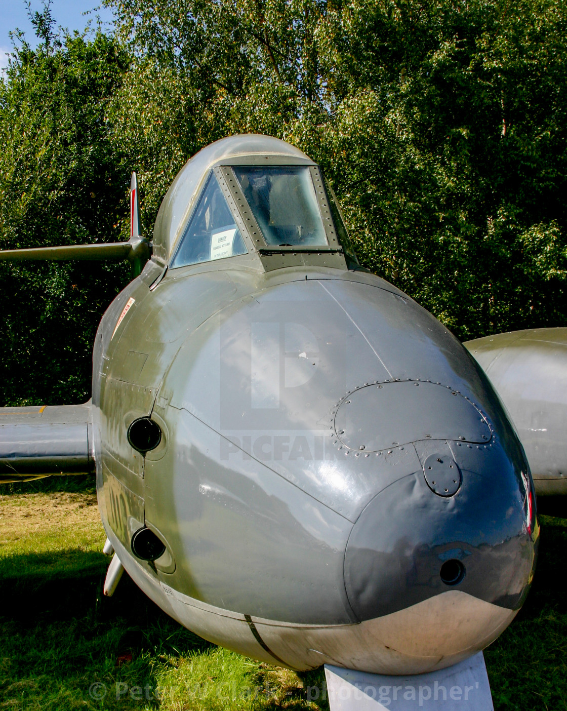 """""""Gloster Meteor F8 at Yorkshire Air Museum in Elvington, York, Yorkshire."""" stock image"""
