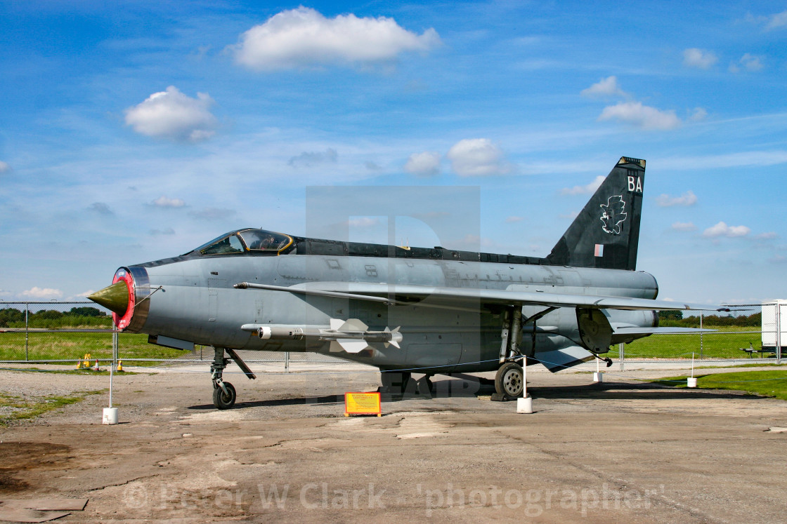 """""""English Electric Lightning F6 at the Yorkshire Air Museum in Elvington, York, Yorkshire."""" stock image"""