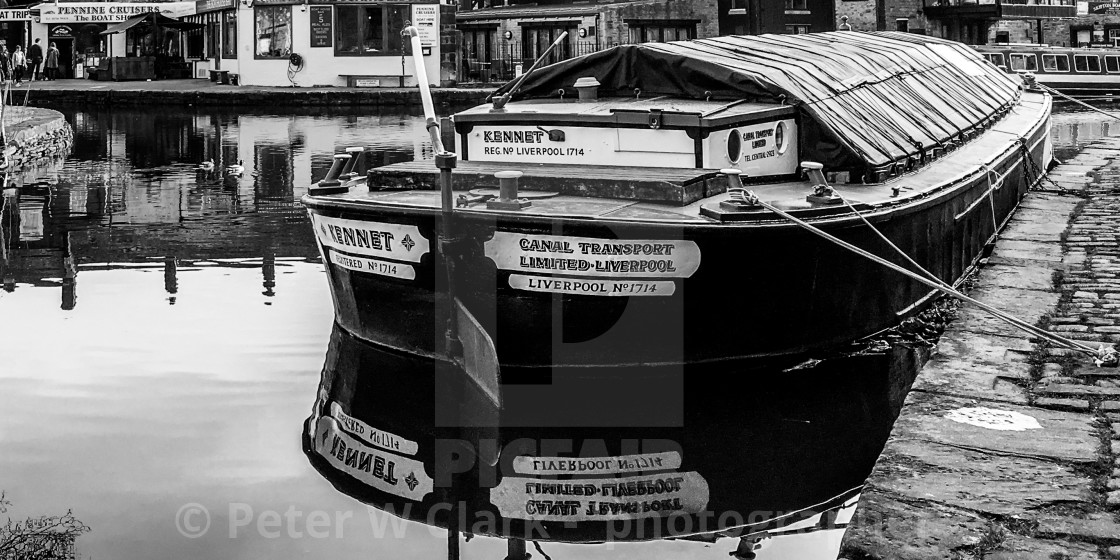 """Skipton Canal Basin on the Leeds Liverpool Canal. Short Boat 'Kennet'"" stock image"
