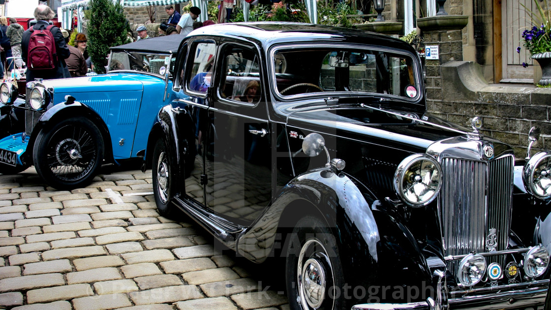 """""""Transport at the Haworth 1940's Weekend. Classic MG Saloon Car."""" stock image"""