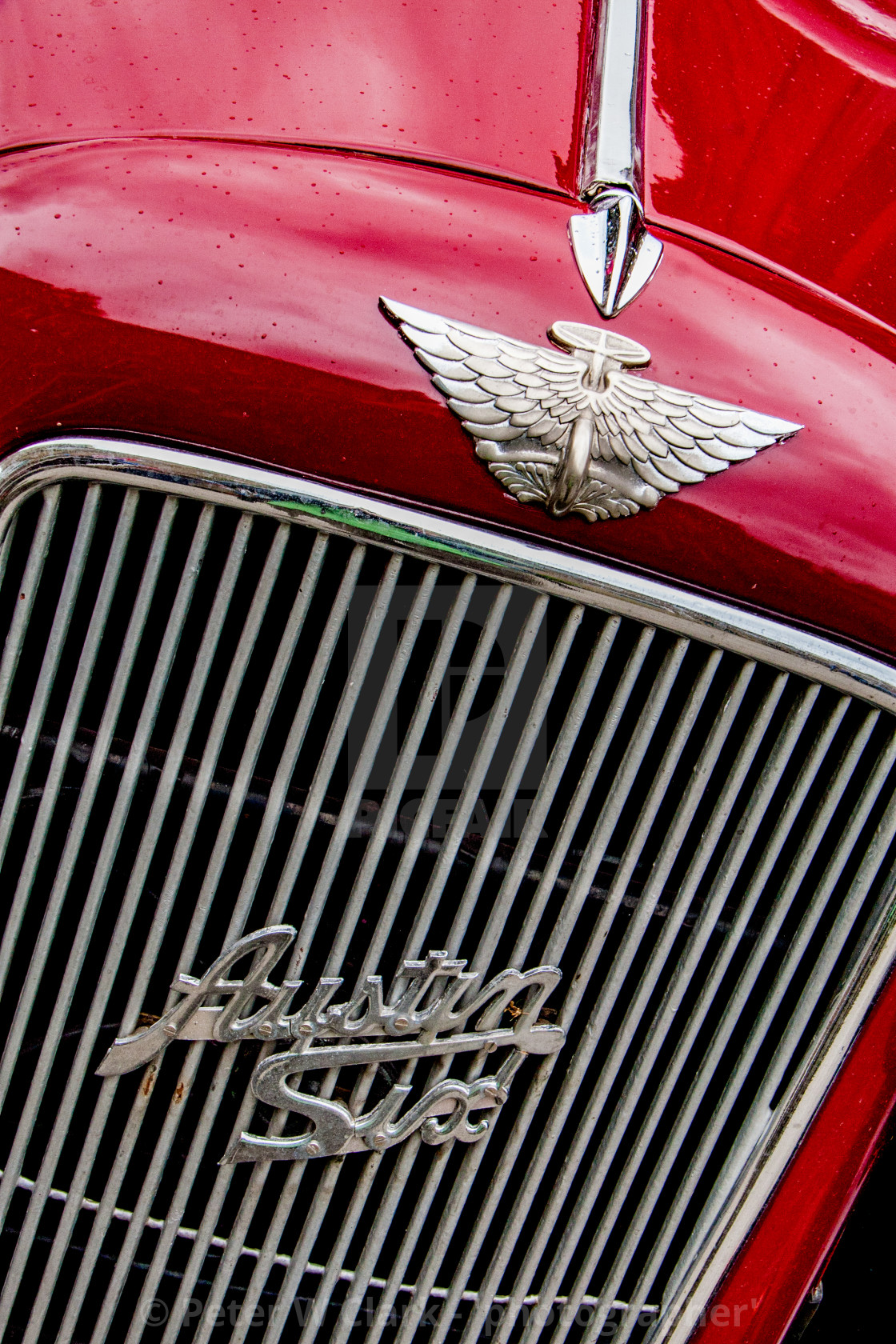 """""""Transport at the Haworth 1940's Weekend. Austin Six Radiator Grill and Emblem"""" stock image"""