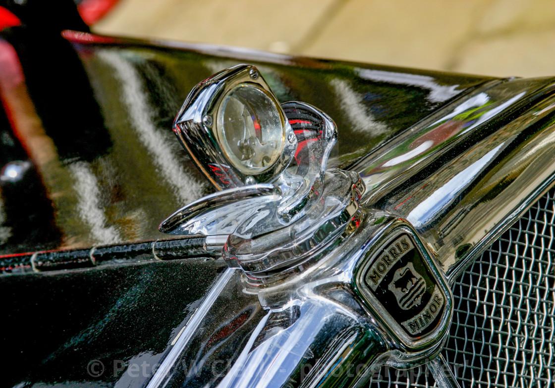 """Transport at the Haworth 1940's Weekend. Classic Morris Minor Emblem and Radiator Cap."" stock image"
