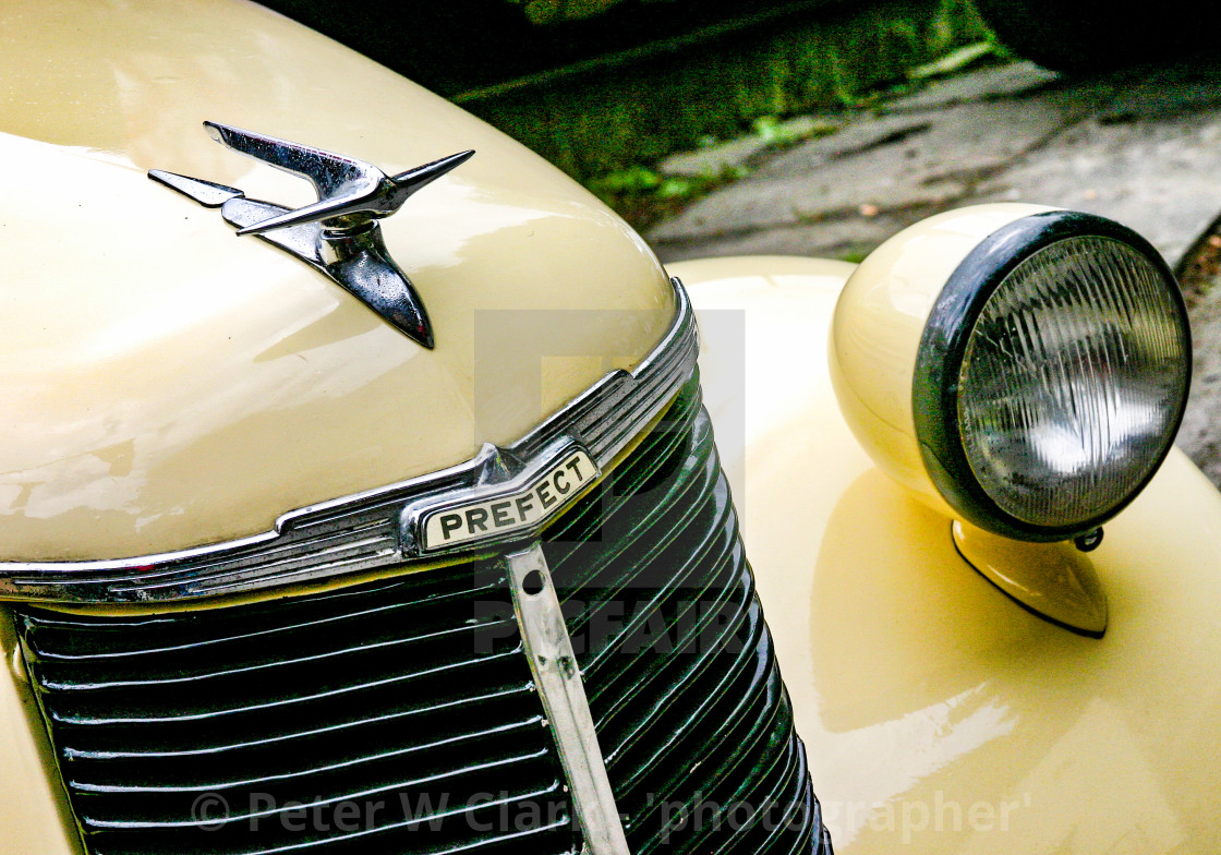 """""""Transport at the Haworth 1940's Weekend. Classic Ford Prefect."""" stock image"""