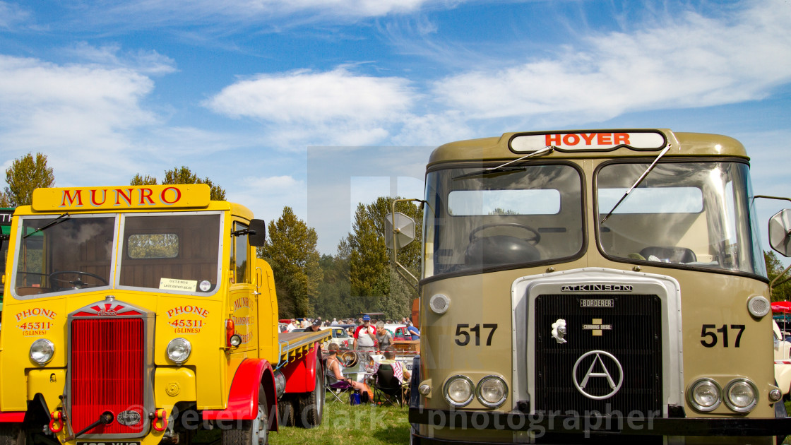 """""""Two Trucks, Albion and Atkinson on display at Otley 2012 Vintage Transport Extravaganza"""" stock image"""