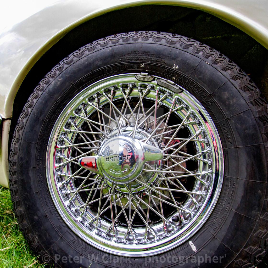 """Jaguar 60s Saloon Car , Wire Wheels on Display at 2012 Vintage Transport Extravaganza"" stock image"