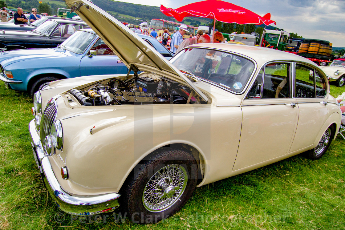 """Jaguar 60s Saloon Car on Display at Otley 2012 Vintage Transport Extravaganza"" stock image"