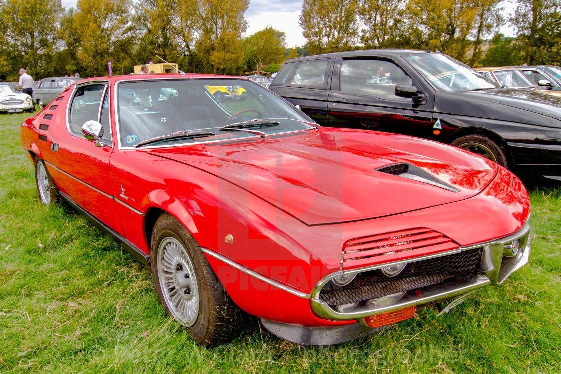 """Red Alfa Romeo Montreal on display at Otley 2012 Vintage Transport Extravaganza"" stock image"