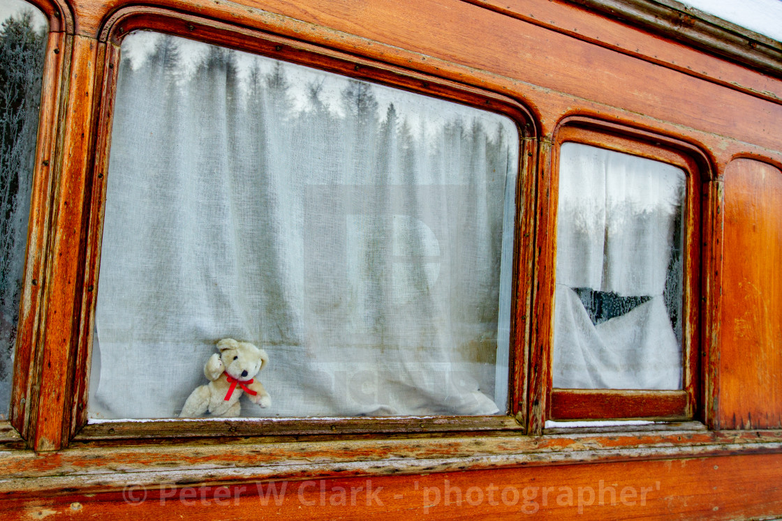 """Vintage carriage/Saloon Window Detail on display at Embsay and Bolton Abbey Steam Railway"" stock image"