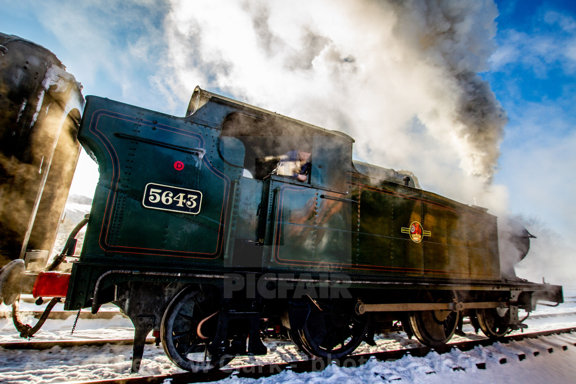 """Locomotive no. 5643, Class 5600, Origin GWR in use at Embsay and Bolton Abbey Steam Railway"" stock image"