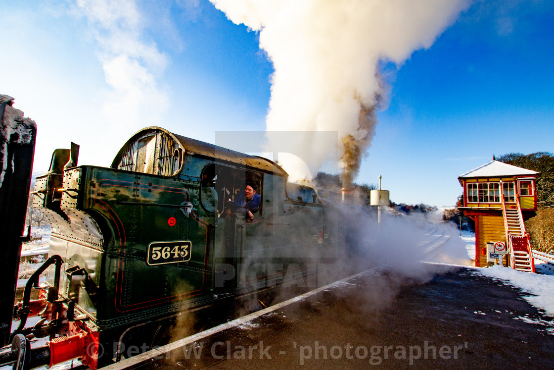 """Locomotive no. 5643, Class5600, Origin GWR in use at Embsay and Bolton Abbey Steam Railway"" stock image"