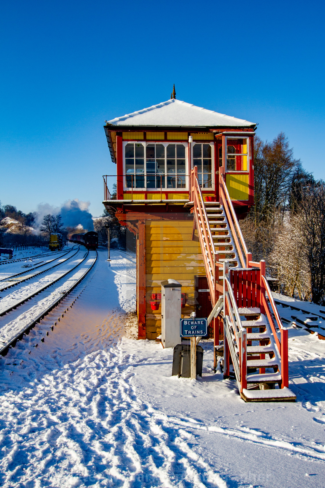 """Restored Signal Box at Embsay and Bolton Abbey Steam Railway, Yorkshire."" stock image"