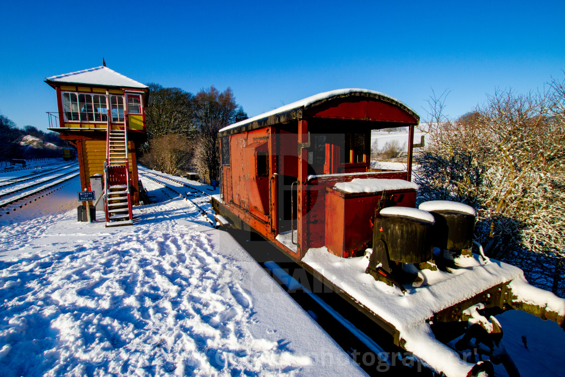 """Restored Signal Box and Guards Van at Embsay and Bolton Abbey Steam Railway, Yorkshire."" stock image"