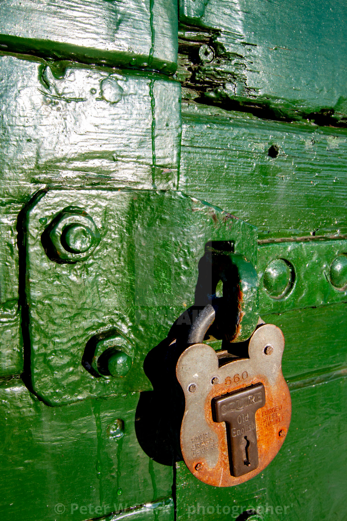 """Rolling Stock, Wagon Door Lock at Embsay and Bolton Abbey Steam Railway, Yorkshire."" stock image"