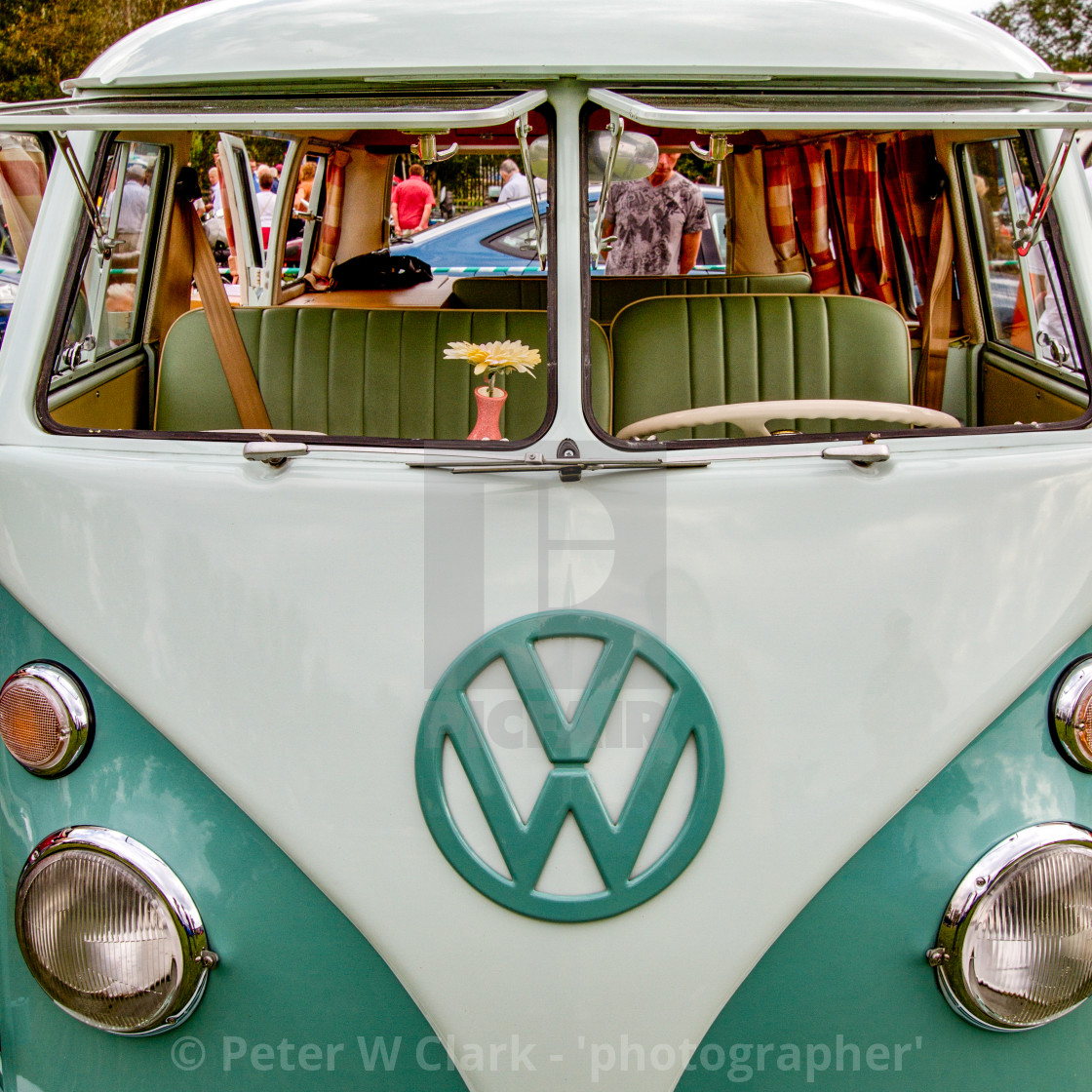"""Volkswagon Campervan on Display at Otley 2012 Vintage Transport Extravaganza"" stock image"