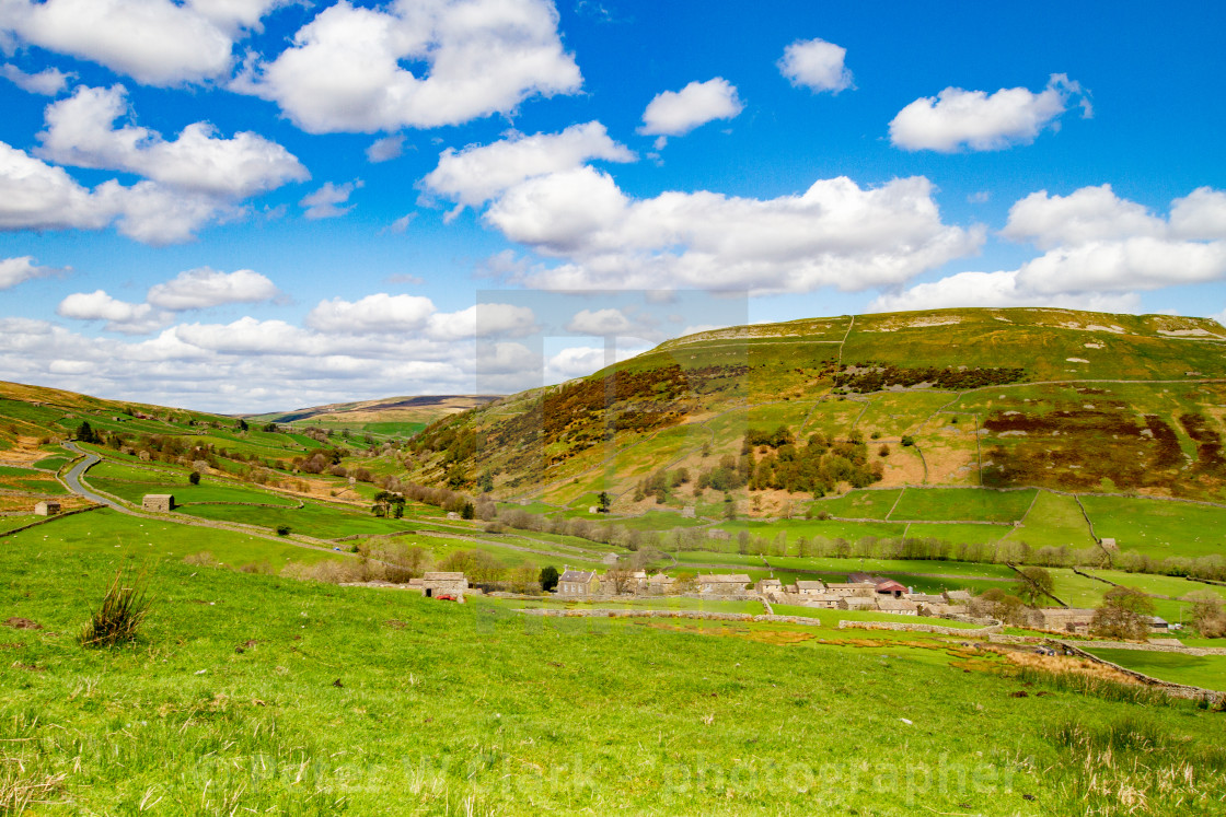"""""""Thwaite , a Small Village in the Yorkshire Dales. Kisdon Hill in the background."""" stock image"""