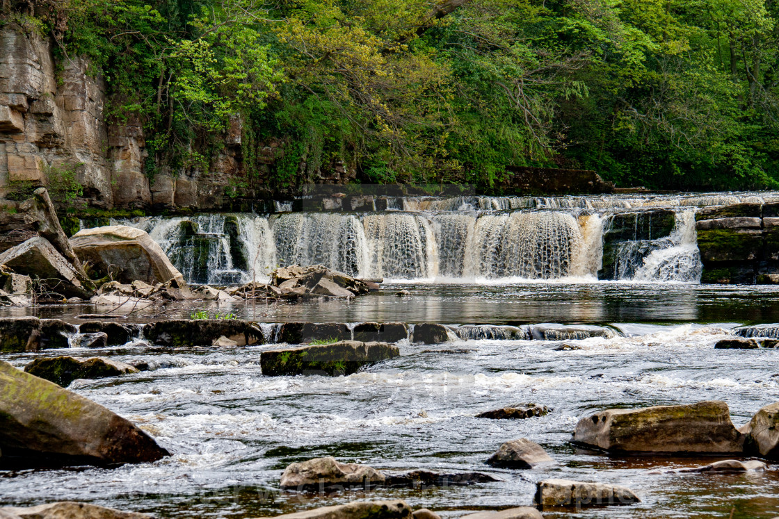 """Richmond, North Yorkshire, Ricmond Waterfalls, River Swale."" stock image"