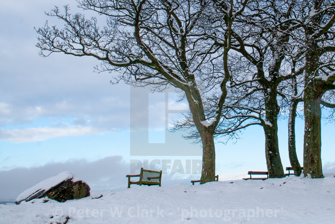 """Seats on Ilkley Moor Overlooking Ilkley. A Winter Scene."" stock image"