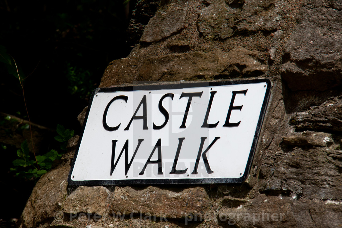 """Castle Walk (sign), Richmond,North Yorkshire."" stock image"