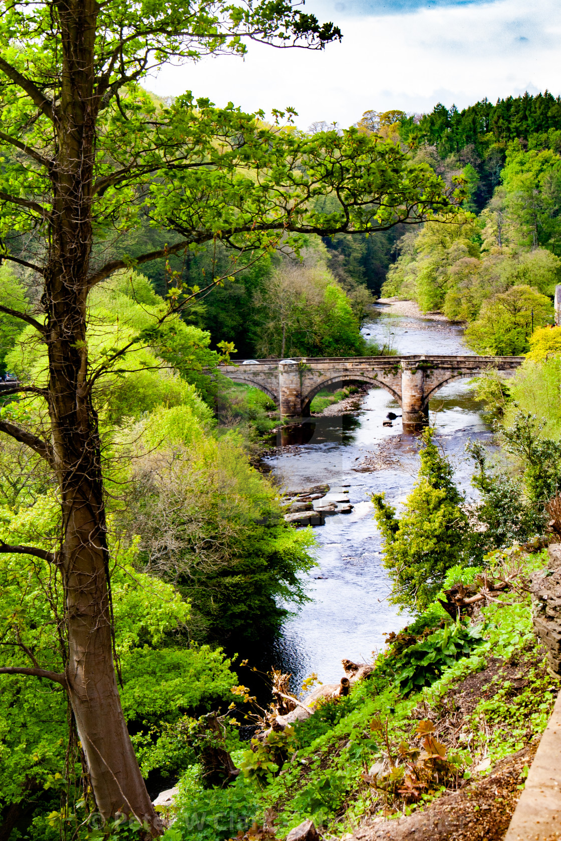 """View over River Swale from Castle Walk, Richmond,North Yorkshire."" stock image"