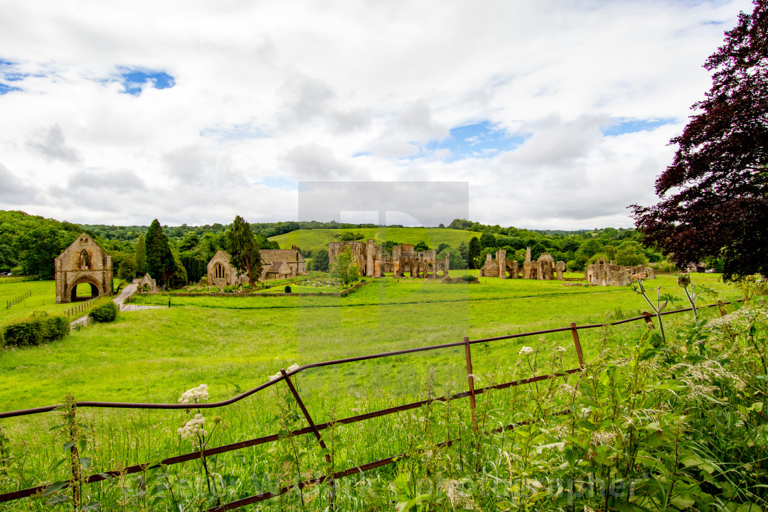 """The Ruins of The Abbey of St Agatha, Easby, Nr Richmond, Yorkshire."" stock image"