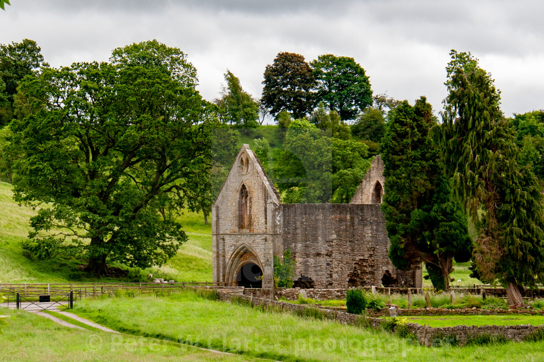 """Ruins of The Gatehouse, Easby Abbey, Richmond, Yorkshire."" stock image"