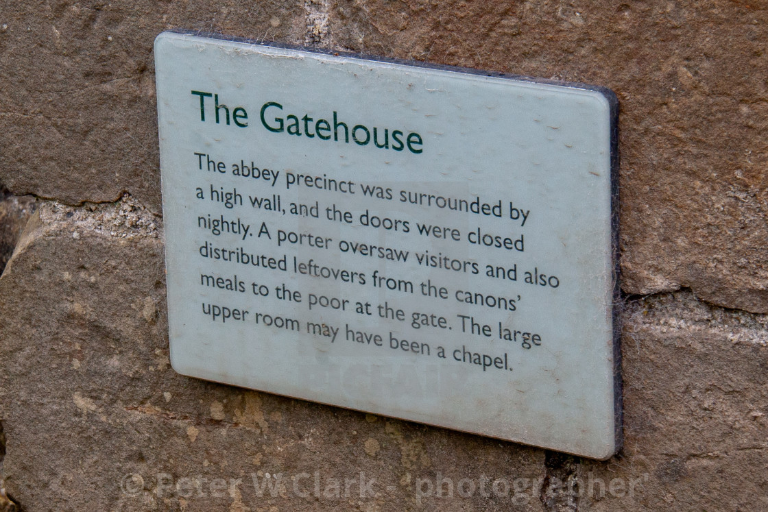 """Sign Details to Ruins of The Gatehouse, Easby Abbey, Richmond, Yorkshire."" stock image"