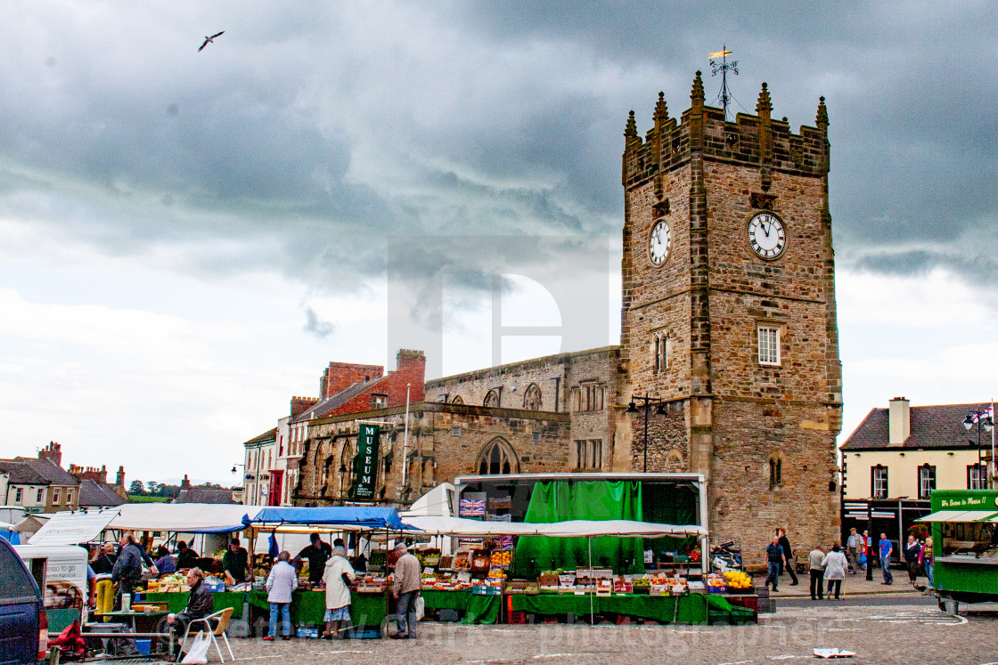 """Former Holy Trinity Church Tower a Grade I Listed Building in The Market Place, Richmond, North Yorkshire."" stock image"