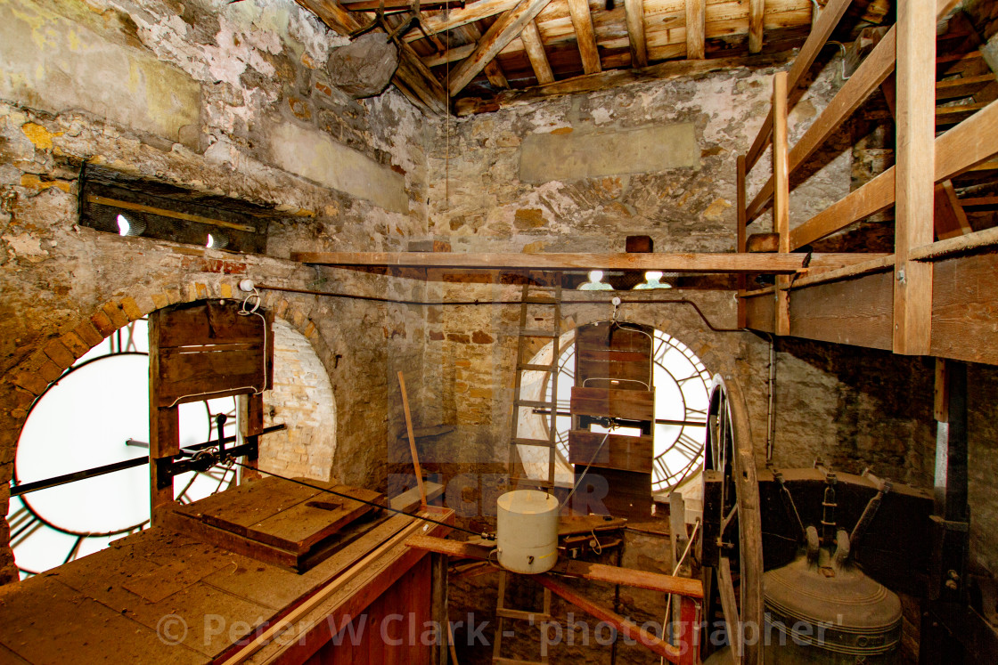 """Town Clock in Trinity Tower Interior, Richmond, North Yorkshire."" stock image"