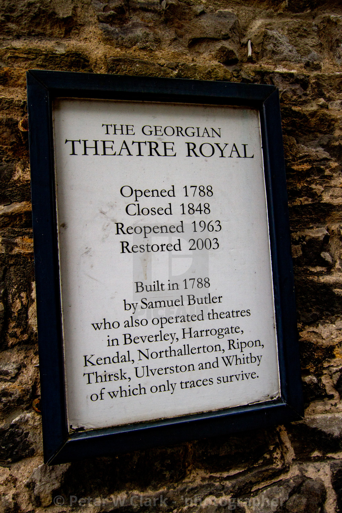 """The Georgian Theatre Royal, Exterior Wall Sign, Richmond, North Yorkshire."" stock image"