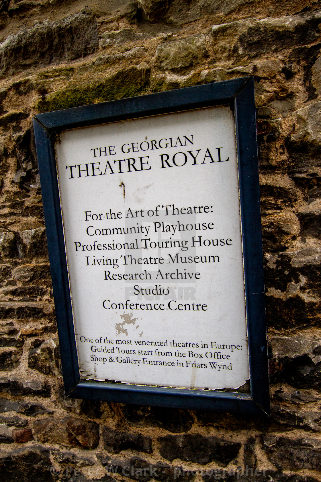"""The Georgian Theatre Royal Exterior Wall Sign, Richmond, North Yorkshire."" stock image"