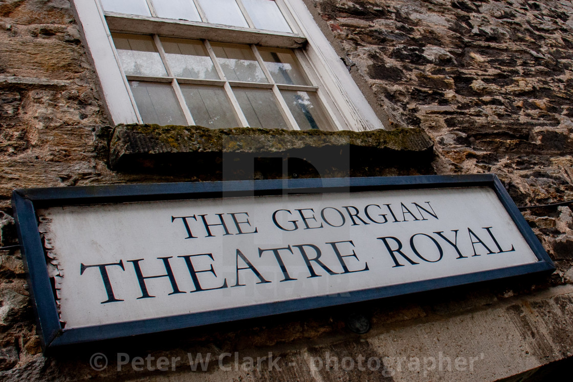 """The Georgian Theatre Royal, Sign and sash window above Entrance. Richmond, North Yorkshire."" stock image"