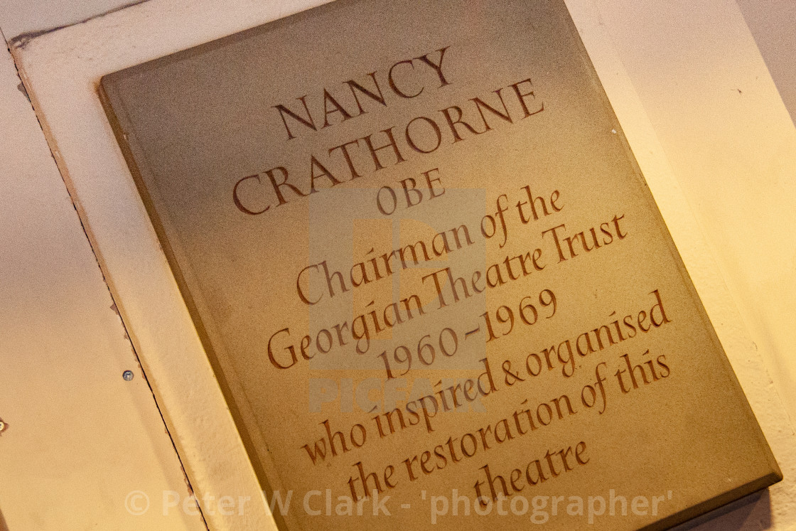 """The GThe Georgian Theatre Royal, Plaque to Nancy Crathorne OBE. Richmond, North Yorkshire. eorgian Theatre Royal, Richmond, North Yorkshire."" stock image"