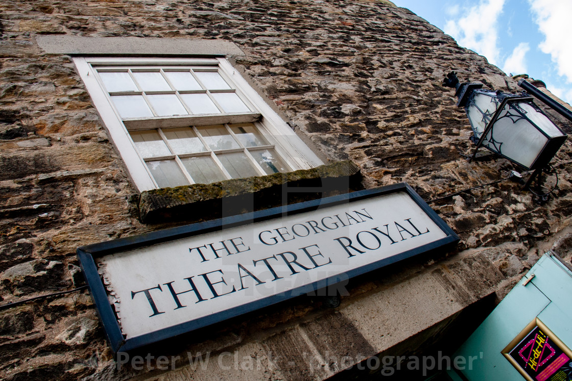 """The Georgian Theatre Royal, Sign above Entrance. Richmond, North Yorkshire."" stock image"