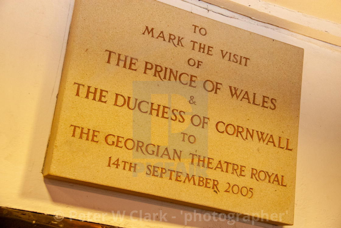 """The Georgian Theatre Royal, Plaque to Prince of Wale and Duchess of Cornwall visit. Richmond, North Yorkshire."" stock image"
