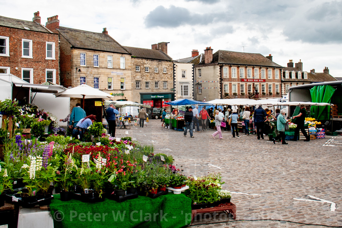 """Cobbled Market Place and Georgian Buildings. Richmond, North Yorkshire."" stock image"