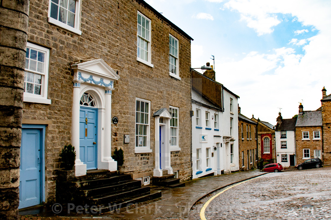 """Richmond, North Yorkshire, Streets and Shops"" stock image"