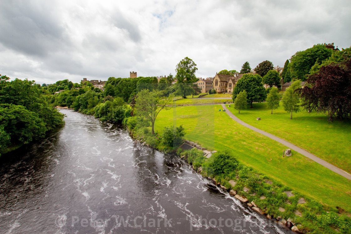 """River Swale at Richmond, North Yorkshire."" stock image"