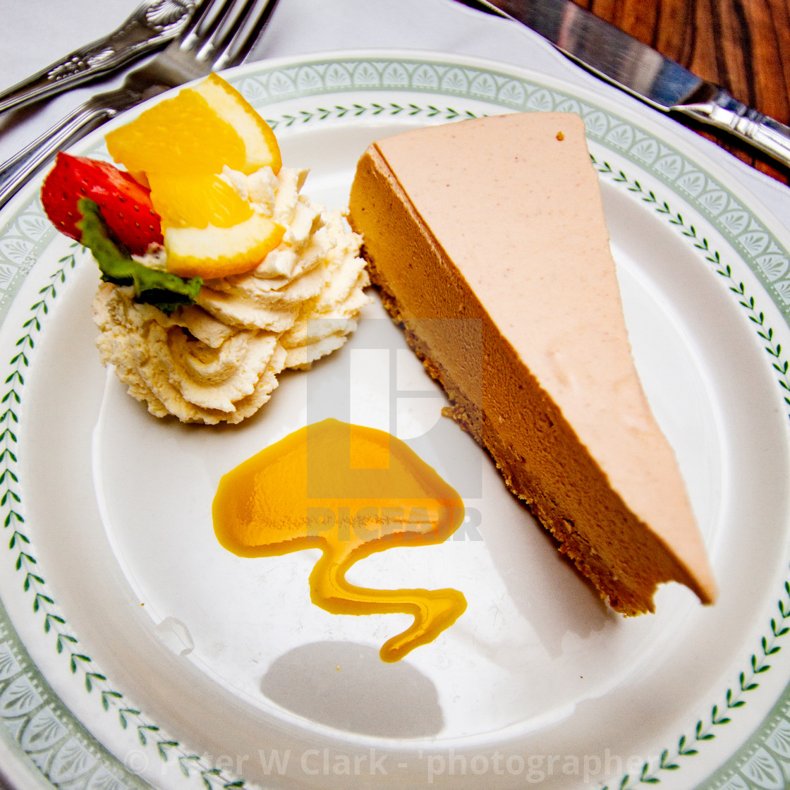 """""""Caramel Cheesecake and Whipped Cream."""" stock image"""