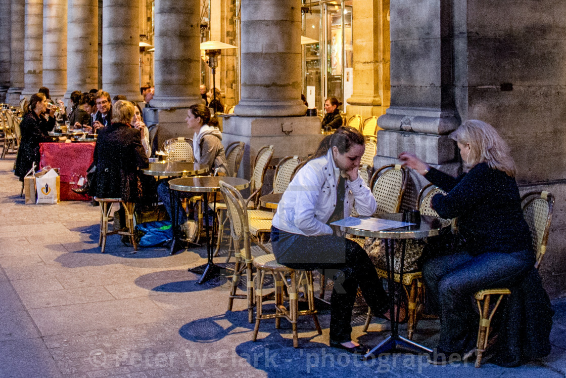 """Pavement Cafe in Paris, evening scene."" stock image"