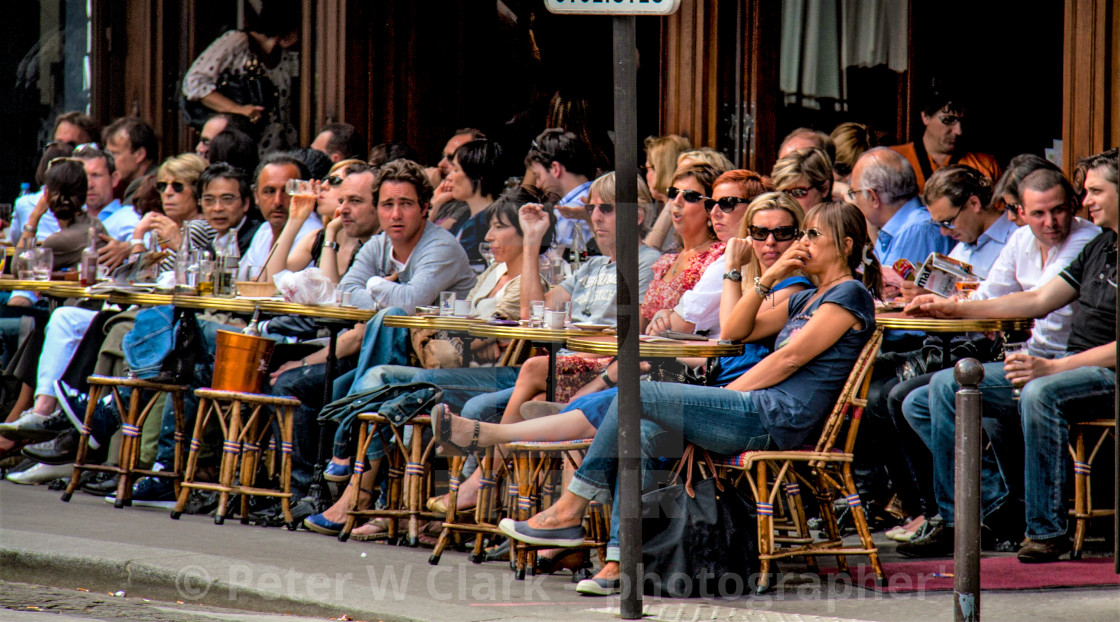 """Very Busy Pavement Cafe in Paris"" stock image"