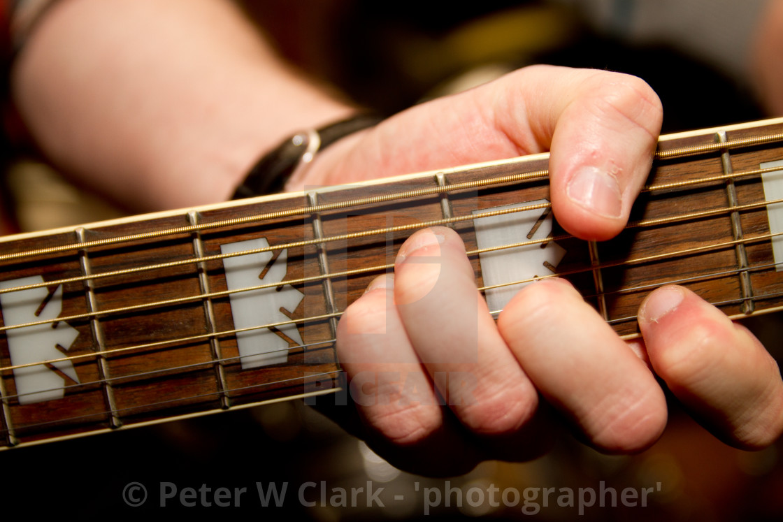 """Guitar, finger placing for a chord"" stock image"