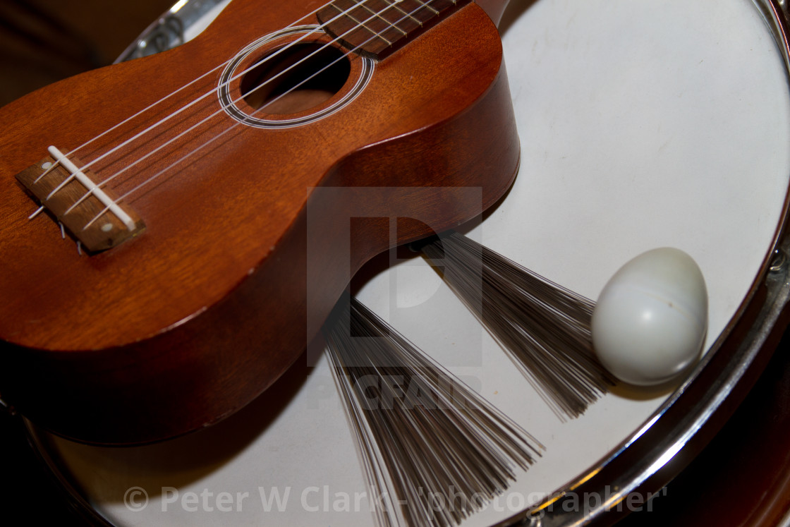 """Snare Drum, Brushes, Acoustic Guitar and Egg Shaker."" stock image"