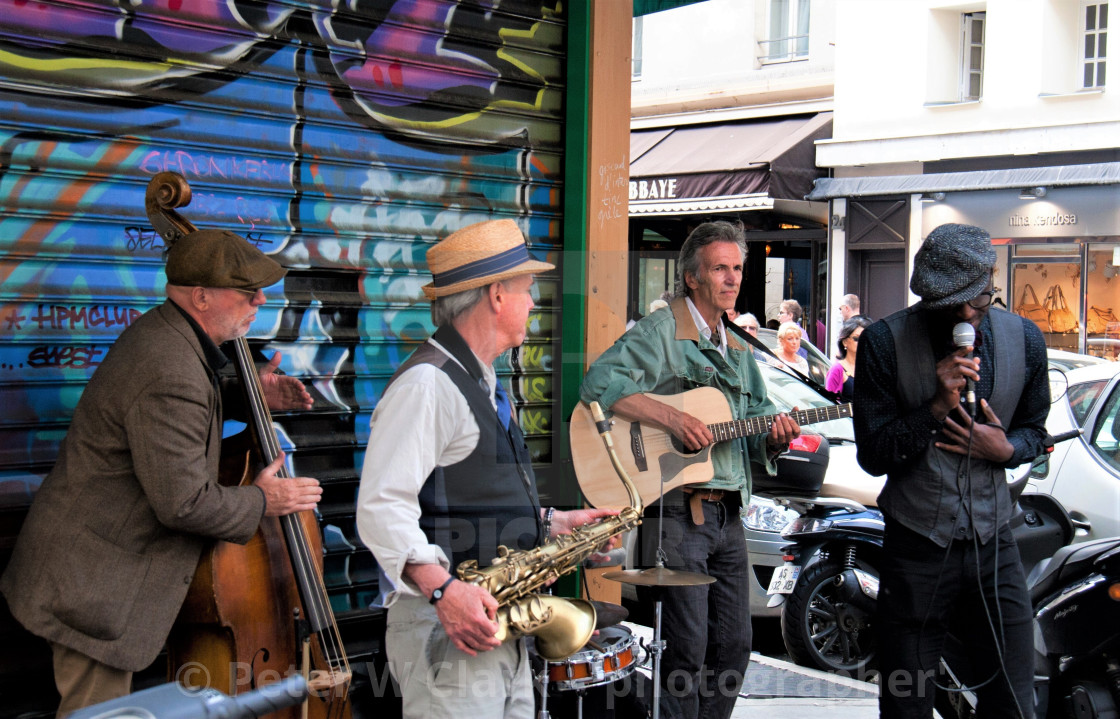 """Buskers in Paris"" stock image"